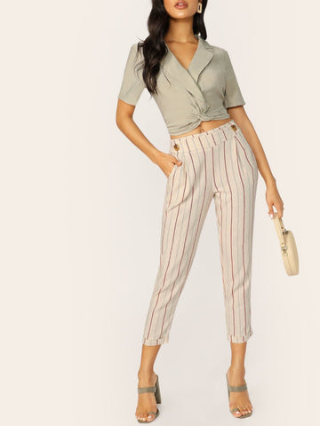 Mid Waist Button Detail Cuffed Striped Slit Fit Pants