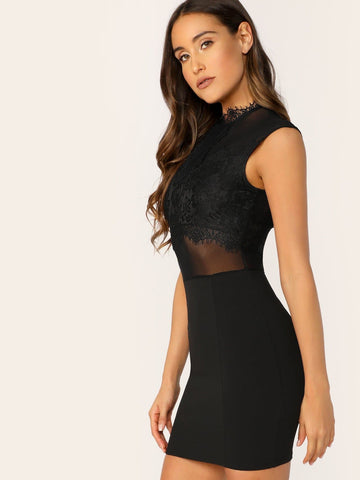 Black Sheer Lace Bodice Bodycon High Neck Sleevless Mini Dress