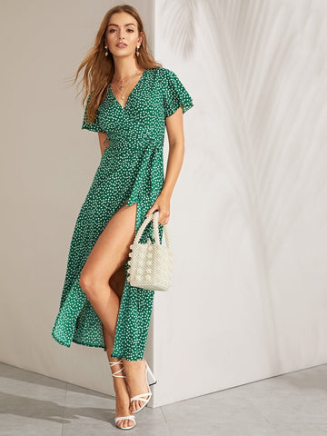V Neck  Polka-dot Split Thigh Flutter Sleeve Belted Dress