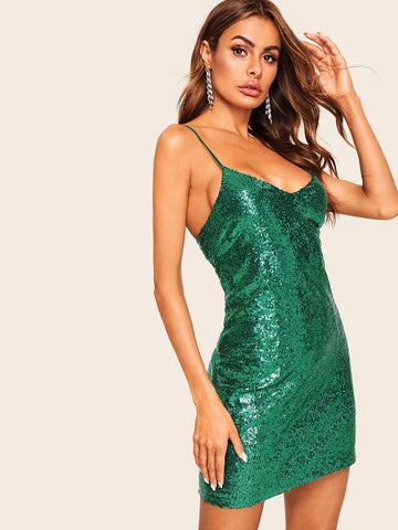 Green V Neck Sleeveless Spaghetti Strap Open Back Form Fitting Sequin Cami Dress