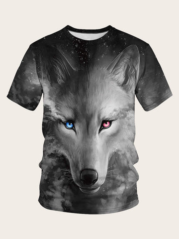 Black Round Neck Short Sleeve 3D Wolf Print Tee T-Shirts