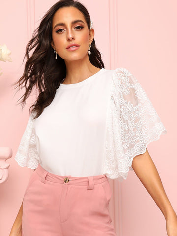 White Round Neck Contrast Lace Batwing Sleeve Blouse Top