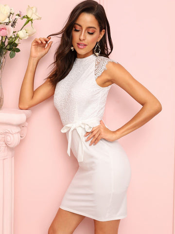 White Stand Collar Cap Sleeve Contrast Lace Zip Back Belted Dress