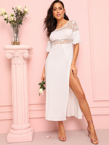 White Round Neck Lace Panel Split Side Bishop Sleeve Dress