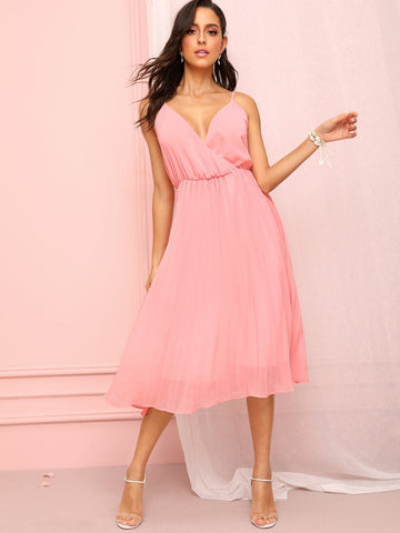 Pink Spaghetti Strap Sleeveless Surplice Front Backless Cami Dress