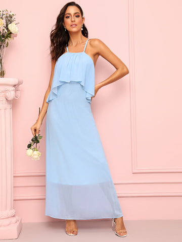 Blue Spaghetti Strap Sleeveless Solid Flounce Trim Cami Dress