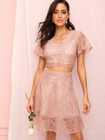 Pink V Neck Zip Back Guipure Lace Crop Top With Skirt