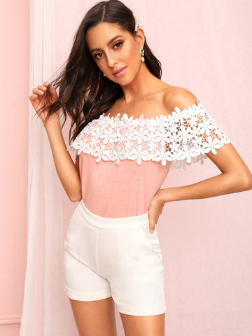 Pink Off Shoulder Hollow Out Crochet Top