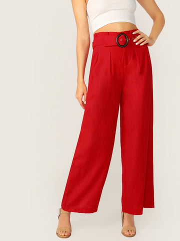 Red Zipper Fly Pleated Belted Waist Wide Leg Palazzo Pants