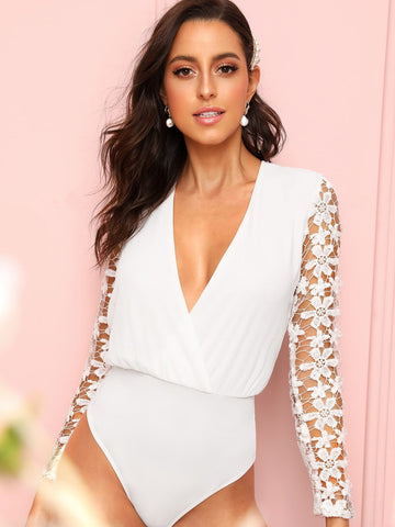 White V Neck Surplice Lace Panel Zip Back Bodysuit Top