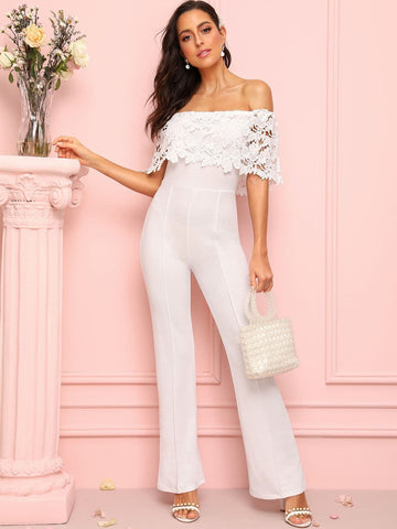 White High Waist Lace Overlay Off Shoulder Jumpsuit