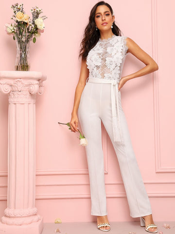 White Round Neck Sleeveless Lace Panel Zip Back Self Tie Jumpsuit