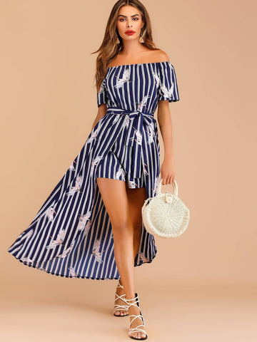 Short Sleeve Leaf Print Off-shoulder Belted Culotte Jumpsuit