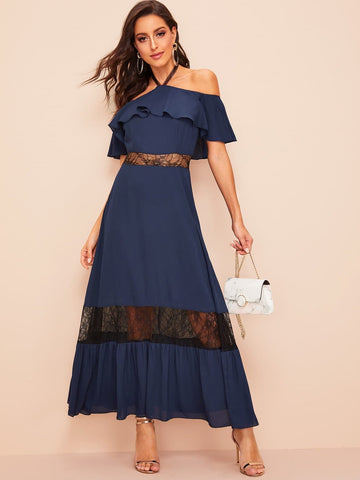 Navy Blue High Waist Halter Off Shoulder Lace Insert Ruffle Dress