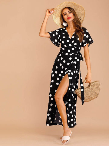 Black V Neck Polka Dot Wrap Knot Side Dress