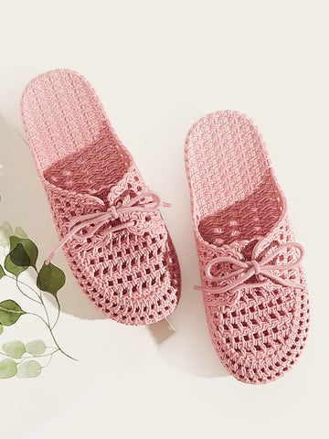 Pink Lace-up Front Plaited Sliders Slip Ons