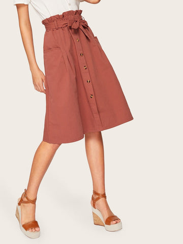 High Waist Button Front Belted Paperbag Skirt