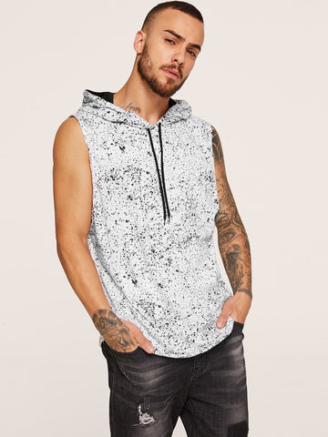 Black and White Paint Splatter Pattern Hooded Sleeveless Tee T-Shirt