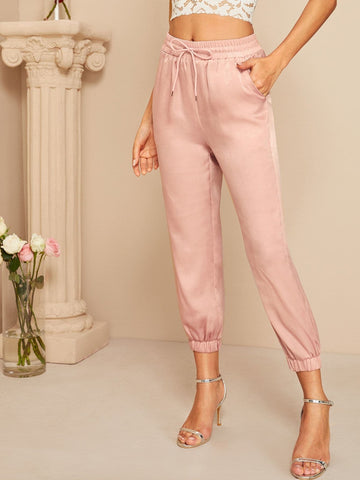 Pink Solid Drawstring Waist Crop Tapered carrot Satin Pants