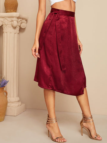 Burgundy Asymmetrical Hem Belted Satin Skirt