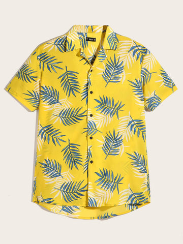 Button Fron Notched Collar Tropical Jungle Leaf Print Shirt