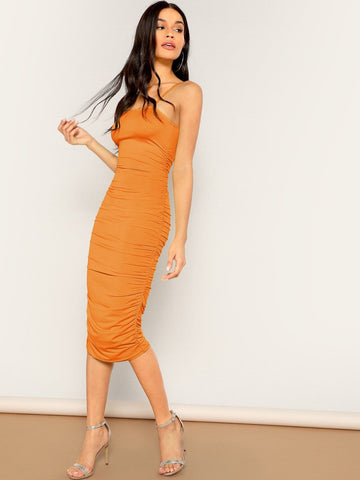 Spaghetti Strap Sleeveless Ruched Cami Midi Dress
