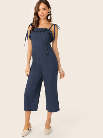 Navy Blue Spaghetti Strap Sleeveless Ruffle Foldover Culottes Jumpsuit With Tie Strappy