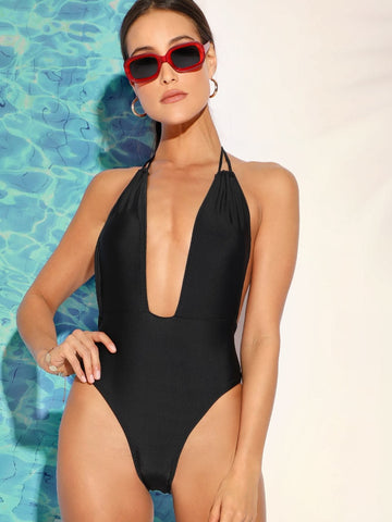 Black U-Plunge Self Tie Open Back One Piece Swimwear
