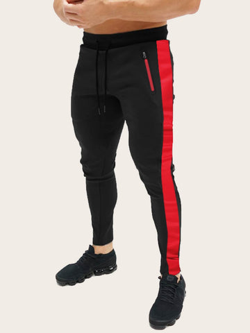 Regular Fit Contrast Side Drawstring Waist Sweatpants