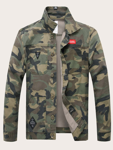 Funnel Neck Single Breasted Camo Print Denim Jacket