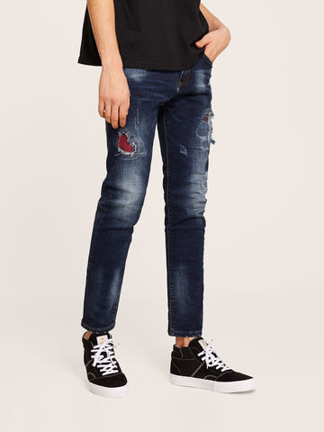Navy Blue Ripped Patched Wash Button Fly Tapered Jeans