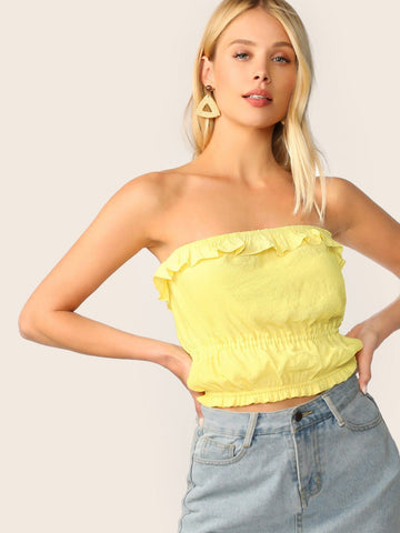Yellow Strapless Ruffle Foldover Elastic Bandeau Top