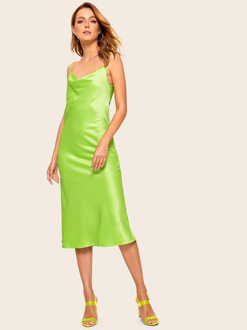 Sleeveless Spaghetti Strap Neon Lime Cowl Neck Slip Dress