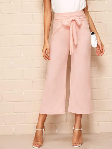 Flare Leg High Waist Tie Front Zip Back Solid Pants
