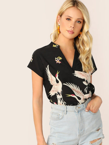 Cap Sleeve V-cut Neck High-low Hem Red-crowned Crane Print Top