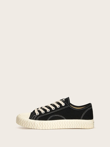 Black Lace-up Front Canvas Sneakers