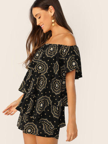 Black Off Shoulder Layered Ruffle Geo Dress