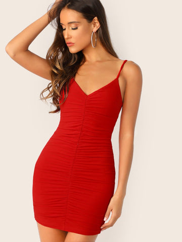 Red Spaghetti Strap Sleeveless Solid Ruched Bodycon Slip Dress