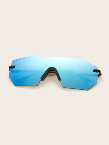 Blue Rimless Frame Tinted Lens Sunglasses