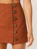 Mid Waist Button Front Mini Skirt