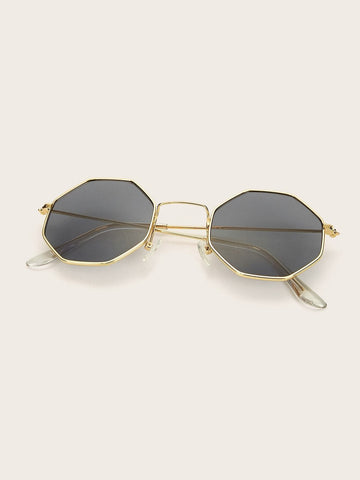 Grey Hobo Octagon Frame Tinted Lens Sunglasses