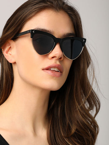 Cat Eye Clubmaster Style Sunglasses