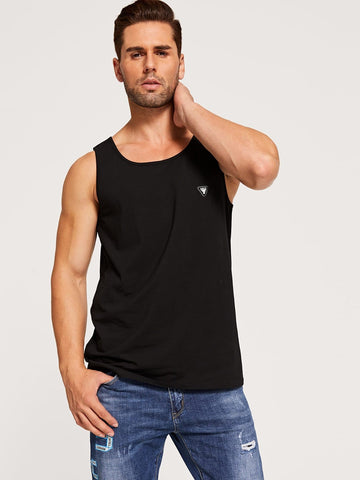 Black Regular Fit Sleeveless Patched Detail Tank Top T-Shirt Vest