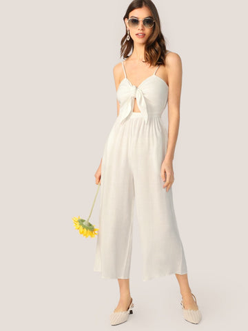 White Sleeveless Spaghetti Strap Tie Front Cut Out Jumpsuit
