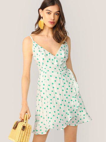 Sleeveless Polka Dot Spaghetti Strap Wrap Front Ruffle Dress
