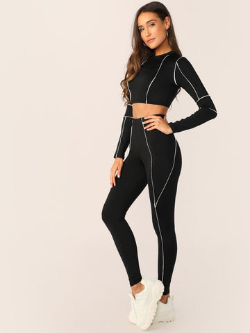 Black and White Contrast Trim Stretch Crop Top And Leggings Set