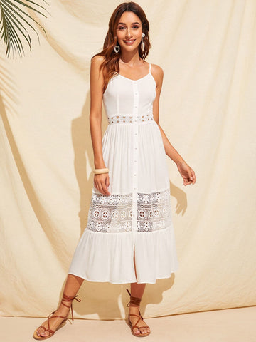 Sleeveless Spaghetti Strap Tie Back Covered Button Guipure Lace Insert Slip Dress