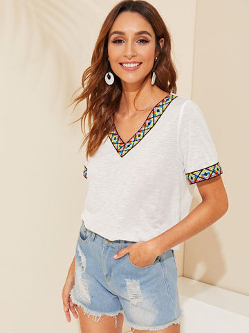 Short Sleeve Tribal Tape Cuff and V-Neck Top