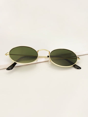 Green Boho Metal Frame Oval Lens Sunglasses