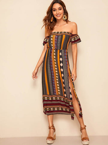 High Waist Off Shoulder Tribal Print Split Dress